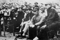 毛泽东与肖劲光等陪同美军观察组观留守兵团的军事演习